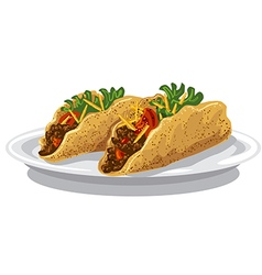 tacos on plate vector image
