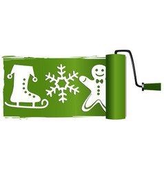 christmas paint roller vector image vector image