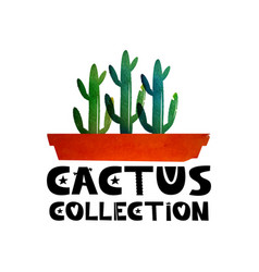 cute lettering text collection of cacti logo for vector image
