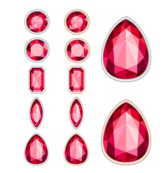set of five forms of ruby cut and two kinds of fra vector image