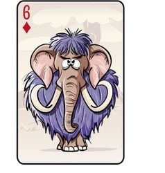 Six of diamonds playing card with a mammoth vector image