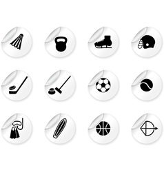 Stickers with sport equipment icons vector image