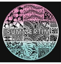 Summertime badge with hawaiian motifs vector image