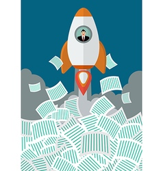 Businessman on rocket get away from a lot of vector image vector image