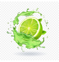 Fresh lime in juice splash isolated fruit vector