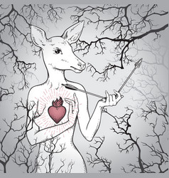 Hand drawn deer with human body and burning heart vector
