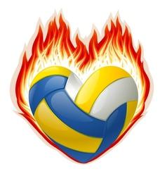 heart shaped volleyball on fire vector image vector image