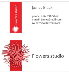 Red floral design business visiting card vector