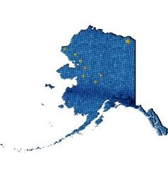 Alaska map with flag inside vector image