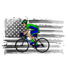 american cyclist riding racing bicycle cycling vector image