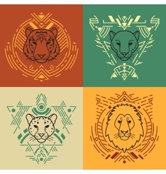 Animal heads in frames vector