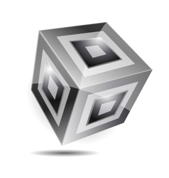 Balck white cube corporate business 3d logo vector