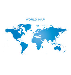 blank blue world map isolated on white background vector image