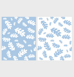 blue abstract hand drawn leaves patterns vector image
