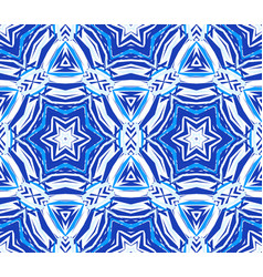 Blue background kaleidoscope star pattern vector
