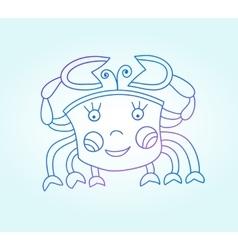 Blue line drawing of sea animal underwater vector