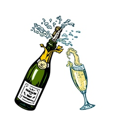 Bottle of champagne and glass of champagne vector