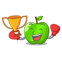 Boxing winner green smith apple isolated on vector