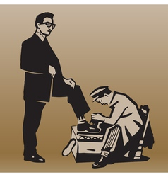 Boy cleans shoes to respectable man vector