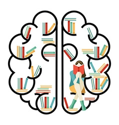 Brain concept with books inside vector image