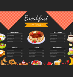 breakfast menu template for restaurant and cafe vector image