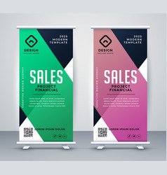 Business roll up banner or standee design template vector