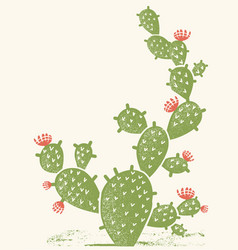 Cactus silhouette vintage green cactus background vector