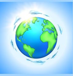 cartoon earth planet globe vector image
