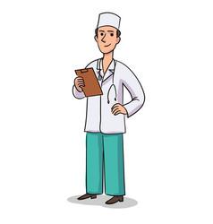 cartoon man doctor character in uniform vector image
