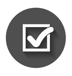 Check mark button flat icon with long shadow vector