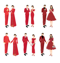 Chinese wedding couple in traditional red dress vector