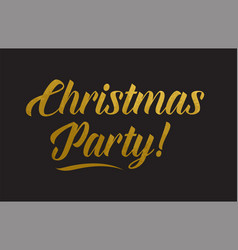 Christmas party gold word text typography vector