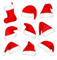 christmas santa claus hats with fur set sock new vector image