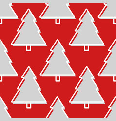 christmas tree seamless pattern in red and grey vector image