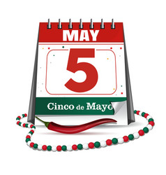 cinco de mayo holiday date in calendar vector image
