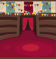 Circus arena with amphitheatrical rows and red vector