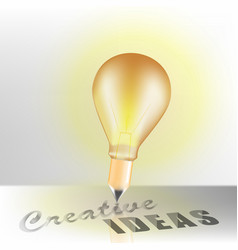 concept design light bulb and pencil with vector image