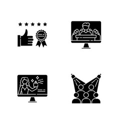 Corporate identity black glyph icons set on white vector