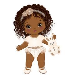 Cute boho black baby girl holding bunny toy vector
