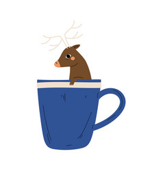 cute deer in teacup adorable little cartoon vector image