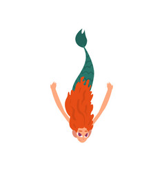 cute funny little red haired mermaid swimming in vector image
