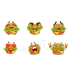 cute kawaii hamburger cartoon character with vector image