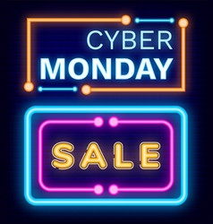 cyber monday sale set neon signboards vector image