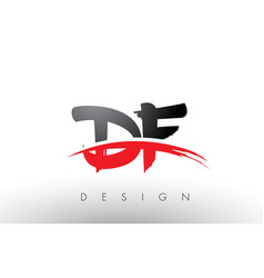 Df d f brush logo letters with red and black vector