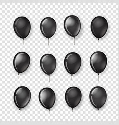 Different black ballons collection isolated on vector