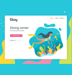 diver landing page template vector image