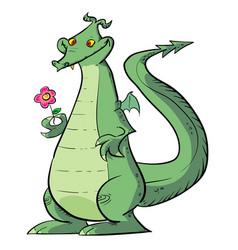 Dragon holding flower vector