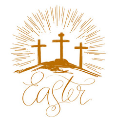 Easter holiday religious calligraphic text cross vector