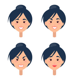 Emotions on womans face isolated vector