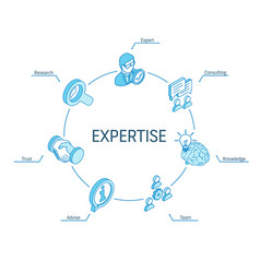 Expertise isometric concept connected line 3d vector